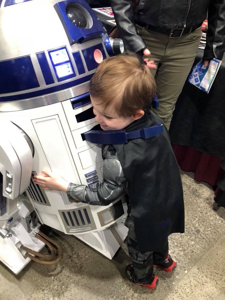 Atomic Bomb of Cuteness where a tiny tot dressed as batman hugs an R2-D2 droid unit